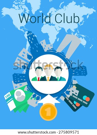 Business men management world finance. - stock vector