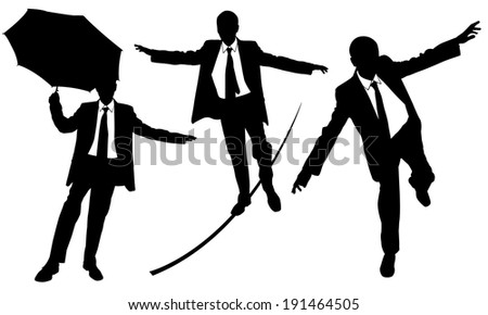 business men on rope set - stock vector