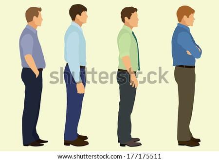 Business  Men Waiting in Line - stock vector
