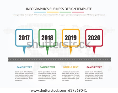 Business Minimal Infographic Template. 4 Steps Business Milestone Timeline  Infographic Layout. Vector Illustration.