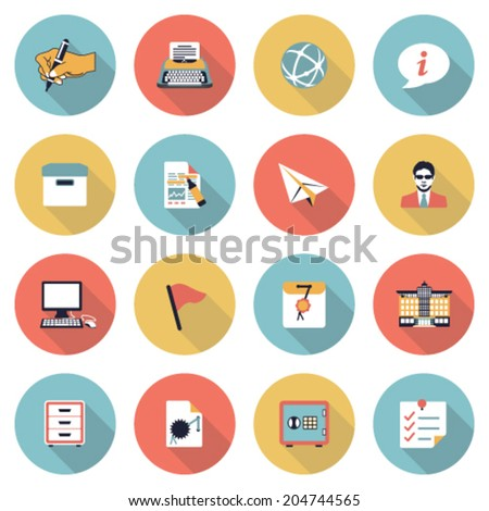 Business modern flat color icons. - stock vector