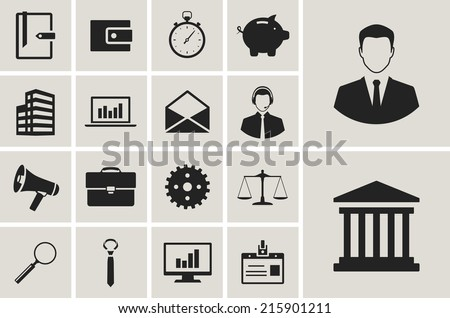 business, money and finance flat icons set - stock vector