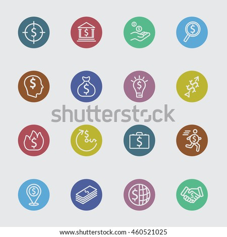 Business money color circles line icon