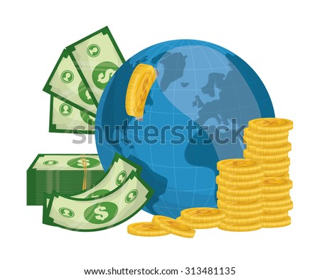 Business, money profits and global economy, vector illustration