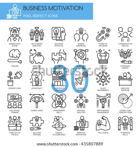Business motivation, thin line icons set , Pixel Perfect Icons - stock vector