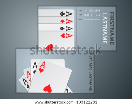 business name card with poker cards - stock vector