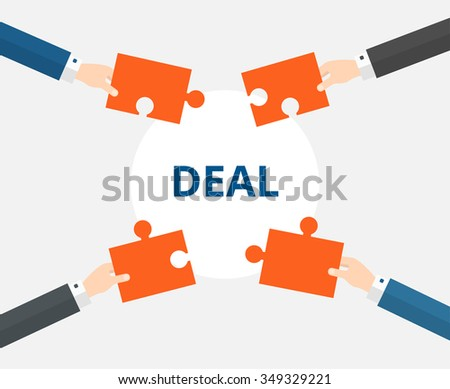 Business Negotiation Concept. Hands folded puzzle. Vector illustration in flat style.