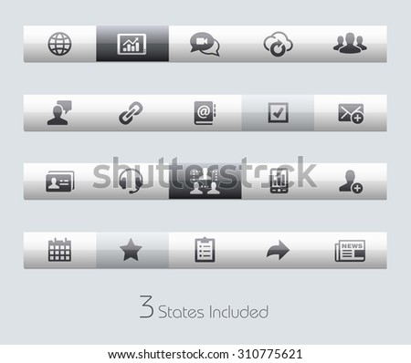 Business Network // Classic Bars +++ The vector file includes 3 buttons states in different layers. +++ - stock vector