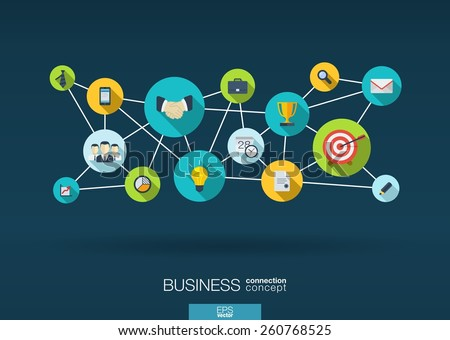 Business network. Growth background with integrate flat icons. Connected symbols for strategy, service, analytics, research, digital marketing, communicate concepts. Vector interactive illustration - stock vector