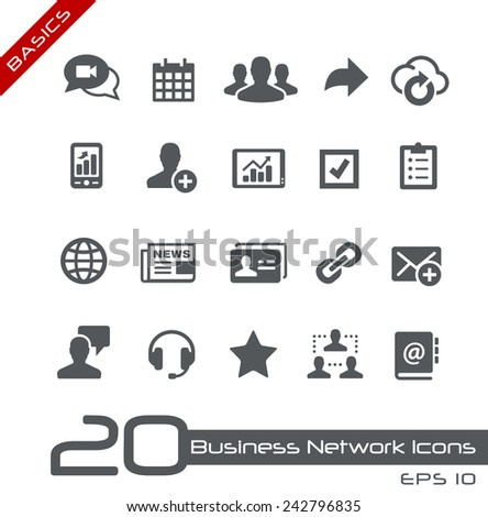 Business Network Icons // Basics - stock vector