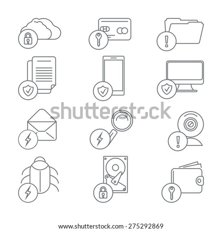Business network security and data protection line art icons. Internet and lock, computer information and webcam, server database, cloud access, vector illustration - stock vector