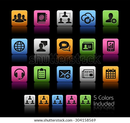 Business Network Technology // ColorBox Series ---- The Vector file includes 5 color versions for each icon in different layers -- - stock vector