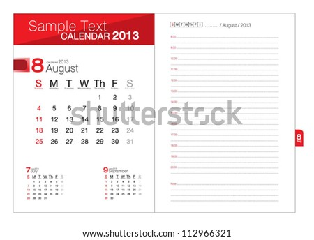 Business notebook with calendar for August 2013 - stock vector