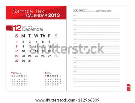 Business notebook with calendar for December 2013 - stock vector