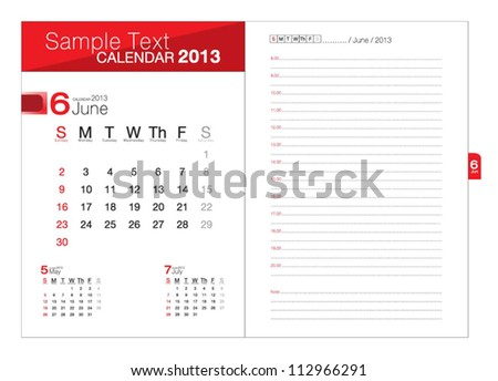 Business notebook with calendar for June 2013 - stock vector