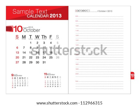 Business notebook with calendar for October  2013