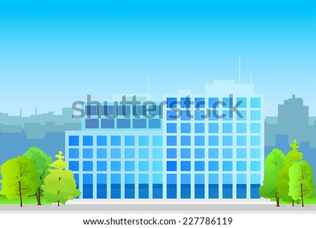 business office building, real estate silhouette icon blue vector illustration architecture  - stock vector