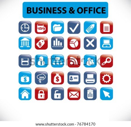 business office buttons, vector - stock vector
