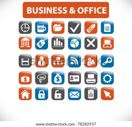 business office icons, signs, vector illustrations