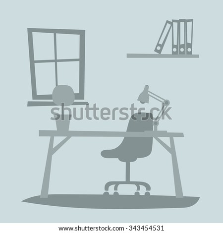 Business office interior with table, chair, computer. Business office vector illustration. Office interior vector illustration. Business office interior table. Business office interior computer - stock vector