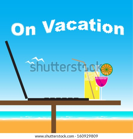 Business office on vacation at the beach - stock vector