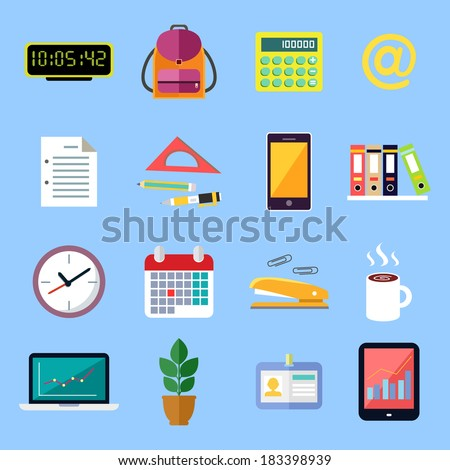Business office stationery flat icons set of id card folders files documents isolated vector illustration - stock vector