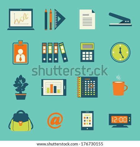 Business office stationery icons set of smartphone tablet and notebook computer isolated vector illustration - stock vector