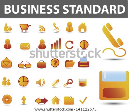 business, office, website icons set, vector - stock vector