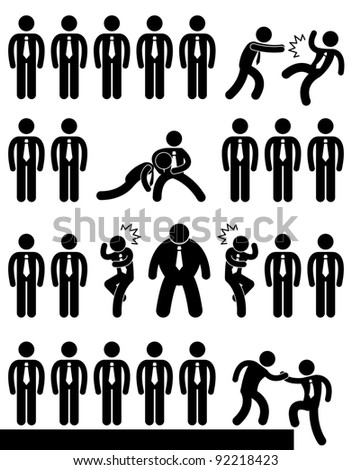 Business Office Workplace Employee Politic Situation Scenario Concept - stock vector