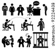 Business Office Workplace Situation Boss Manager Icon Symbol Sign Pictogram Concept - stock photo
