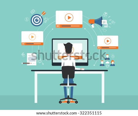 business on line video marketing content concept.flat vector. background - stock vector
