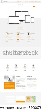 Business One page website - stock vector