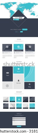 Business One page website design template. Vector