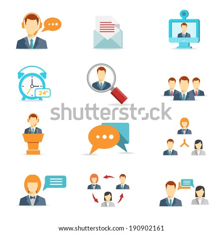 Business online, communication and web conference icons in flat style - stock vector