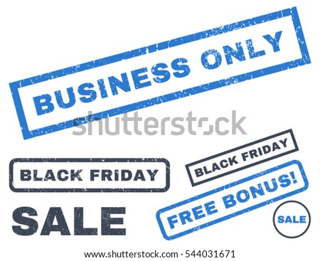 Business Only rubber seal stamp watermark with additional images for Black Friday offers. Vector smooth blue signs. Text inside rectangular banner with grunge design and dirty texture.