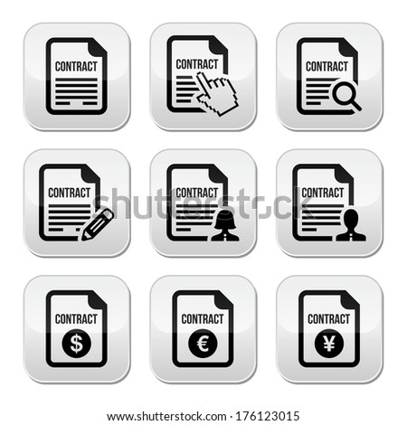 Business or work contract signing vector buttons set - stock vector