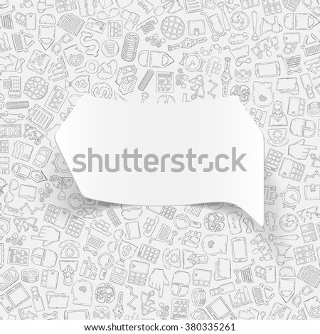 business paper sticker with hand drawn elements