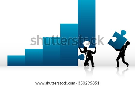 Business Partner-Businessmen putting together higher growth solution - stock vector