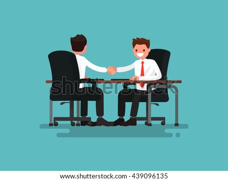 Business partners. Handshake of two businessmen behind a desk. Vector illustration of a flat design - stock vector