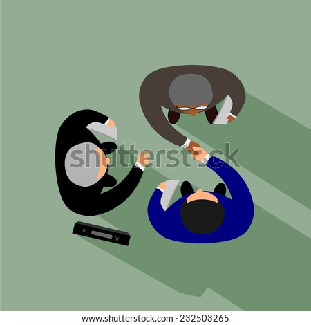 Business partners shaking hands as a symbol of unity, view from the top .vector - stock vector