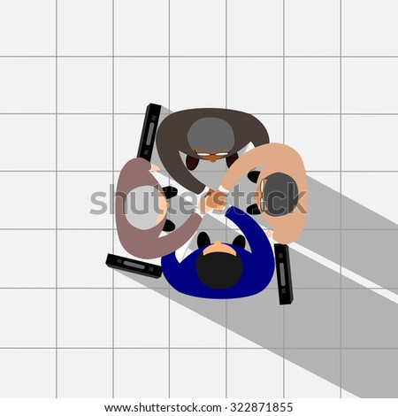 Business partners shaking hands as a symbol of unity, view from the top, vector - stock vector