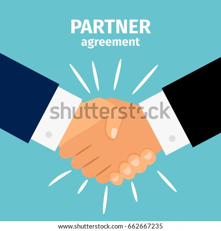 Business partnership handshake vector illustration. Deal sign or businessmen robust agreement people hands shaking