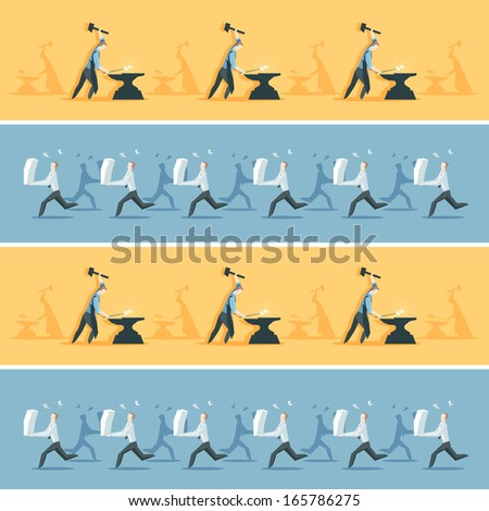 Business pattern with clerks and workers - stock vector