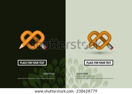 Business. Pencil in the form of heart. Logo, icon, design, business card, poster, template - stock vector