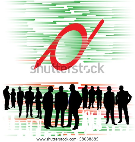 Business people and arrow red - stock vector