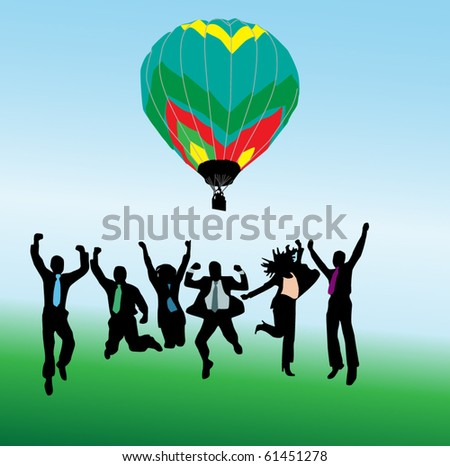Business people and balloon