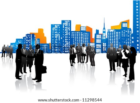 Business people and city - stock vector