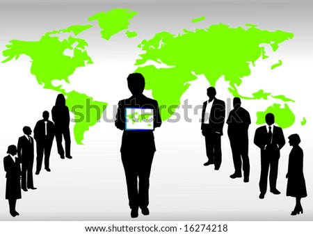 Business people and green map