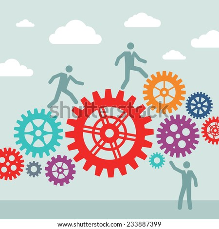 Business people and machine gears wheel - vector concept illustration. Cogwheel illustration. Design elements.  - stock vector