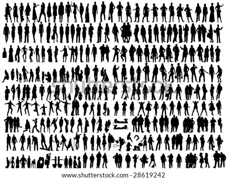 business people and other different silhouettes - stock vector